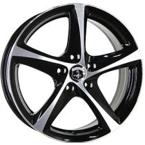 Inter Action Tornado 18x8 shiny black polished front