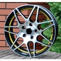 Racing Line RLM28 black polished/yellow 16x6,5 5x112 ET42 57,1