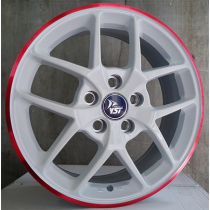 R Line X8 white red lip 16x6.5 5x108 ET50 63.3