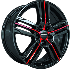 Ronal R57 18x7,5 shiny black with red spoke
